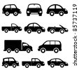 Various models cars and trucks icon set - stock vector