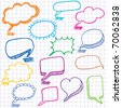 Vector bubbles for speech. Seamless doodle background. - stock vector