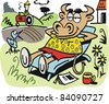 Vector cartoon of contented cow relaxing on chair in field. - stock vector