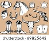 Vector cowboy elements for design. - stock vector