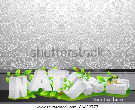 Stock vector vector d nature text with damask background 66652777