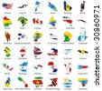 vector editable isolated american flags in map shape with details - stock vector