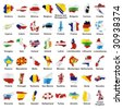 vector editable isolated european flags in map shape with details - stock vector