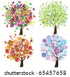 vector four season trees - stock vector