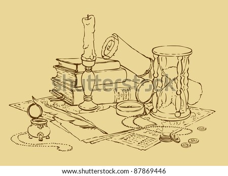... , hourglass, books, a candle in a candlestick and a pen with ink