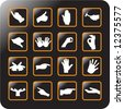 Vector Icon Set for hand gestures - stock vector