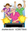 Vector illustration of a grandmother playing video games with her grandchildren. (Words can be placed in star bursts like