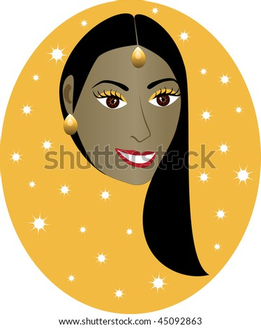 Vector pretty Indian girl with orange/gold background. Great for ...