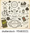 vector set: calligraphic design elements and page decoration, Premium Quality and Satisfaction Guarantee Label collection with retro signs: ship, bicycle, tree and flowers - stock vector
