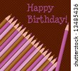 Vector set of pink and brown colored pencils on a brown dotted background.
