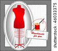 vector - Tailor's Model in red, needle, thread, sewing label with copy space, black & white check frame, polka dot background. Handmade for you. EPS8 organized in groups for easy editing. - stock vector