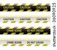 yellow and black police tape with warning stripe and text - stock vector